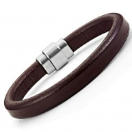 Classic Brown Genuine Leather Cuff Bracelet Stainless Steel Clasp 8.6""