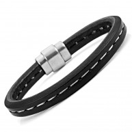 Cool Black Genuine Leather Cuff Bracelet With White Stripe Stainless Steel Clasp 8.6""