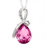 Eternal Love Teardrop Swarovski Elements Crystal Pendant Necklace - Rose Pink