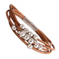 Stylish Leather Bracelet for Women Silver Beads Cuff with Magnetic Clasp 7""