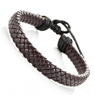 Trendy Braided Bracelet Cuff Bangle Brown PU Leather for Him and Her, Unisex (Resizable)
