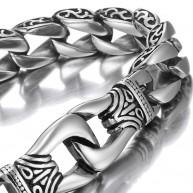 Urban Jewelry Stainless Steel Men's Bracelet Silver Black 9 inch