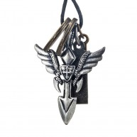 Vintage Royalty Angel's Wing Shield Cross Men's Pendant Leather Necklace