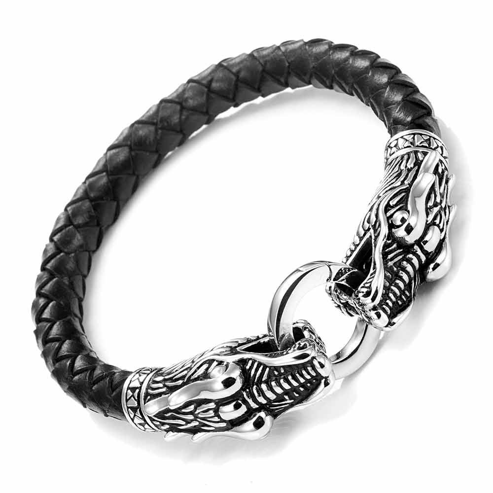 Leather Mens Bracelet With Locking Stainless Steel Dragon